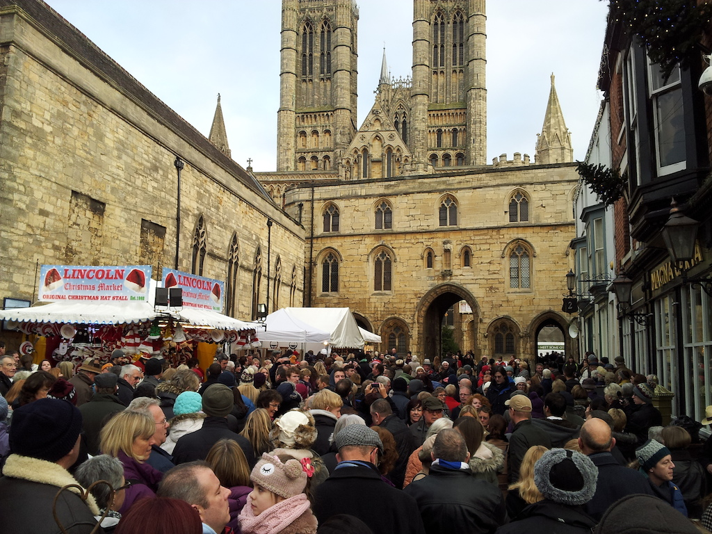 Lincoln Christmas Market Crowd Waiting for the Red Arrows To Appear