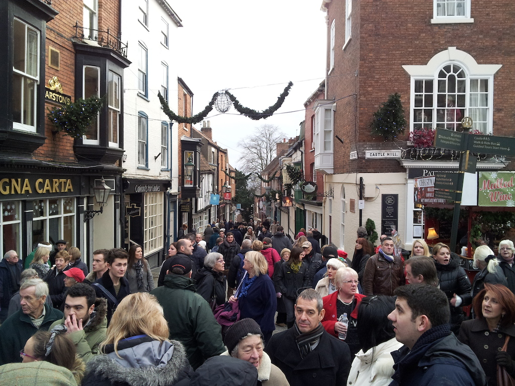 Lincoln Christmas Market Steep Hill Crowd