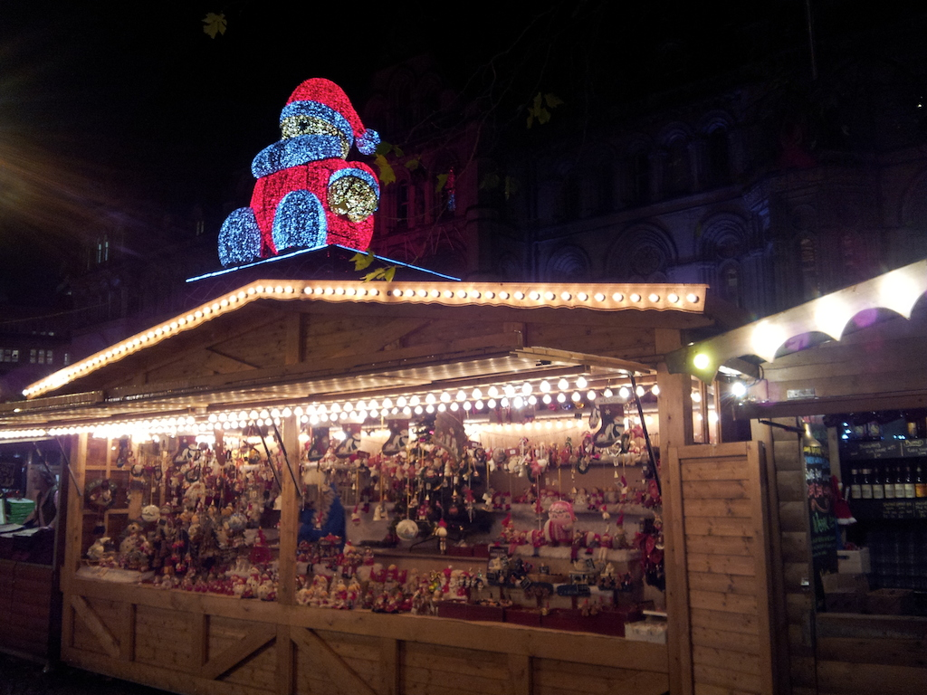 Manchester Christmas Market-Albert Square-Stall With Santa