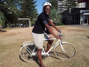 Kerwin on Bike in Gold Coast, Australia