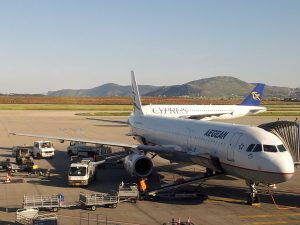 Aegean Airlines (A3) Airbus A321 (321) at the gate in the Athens Airport (ATH)