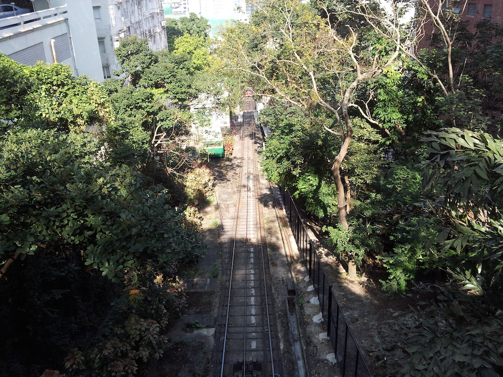 Hong Kong - The track for the funicular on the way up to The Peak