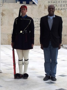 Standing at Attention with an Athens Guard at the Athens Parliament
