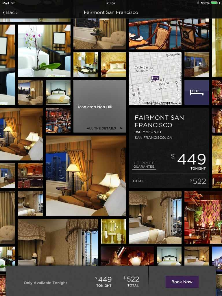 Hotel Tonight Showing Hotel Details Fairmont San Francisco, CA