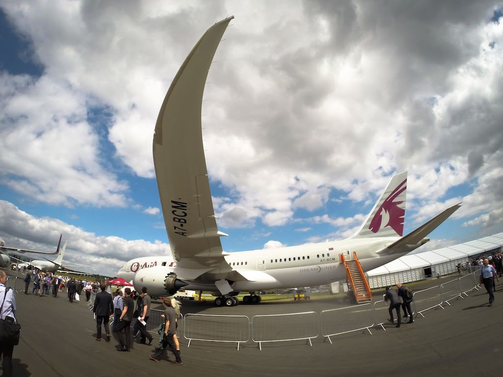 Qatar Airways' Boeing 787-8 at Farnborough 2014