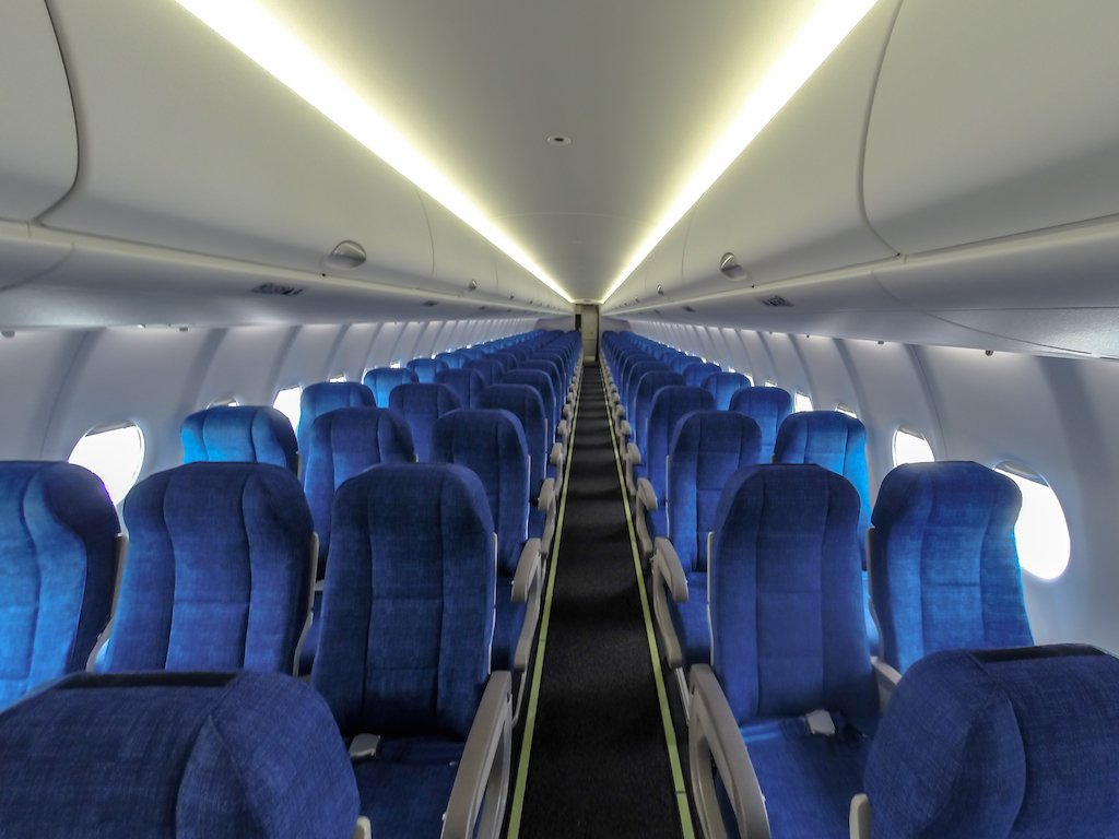 Inside UTAir's Sukhoi SuperJet 100 at Farnborough 2014