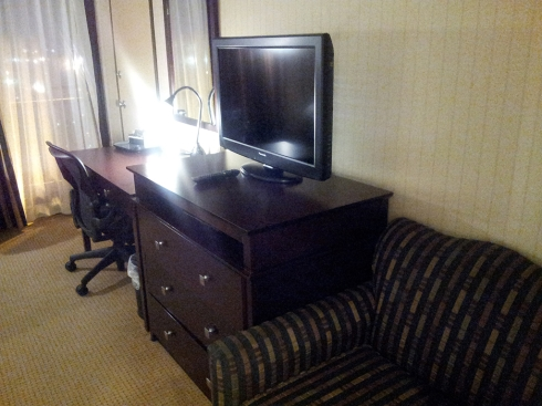 Wyndham Garden Hotel Newark Airport Sofa and TV