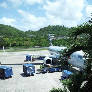 American Airlines (AA) Boeing 737-800 at the gate in Montego Bay, Jamaica (MBJ)