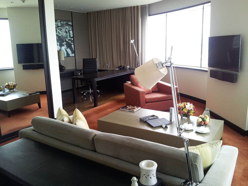 Living Room Seen from the Bedroom at the Millennium Hilton Bangkok, Thailand