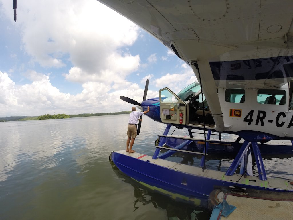 Sri Lanka - CinnamonAir Pilot Getting Plane Ready Before Flight