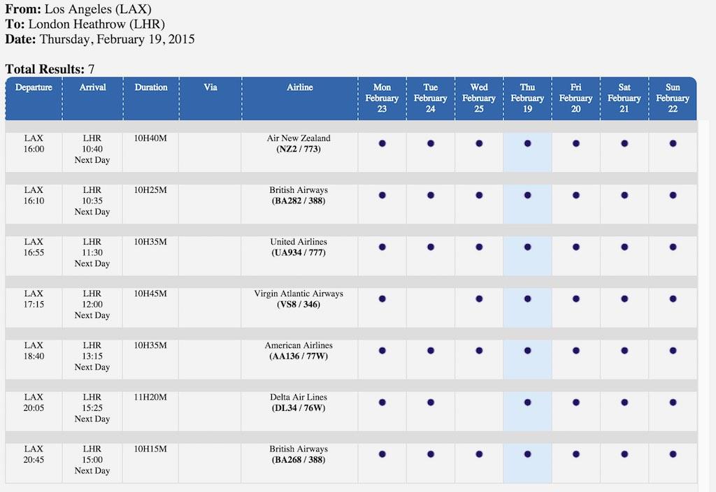 Flight Schedule 7-Day Option