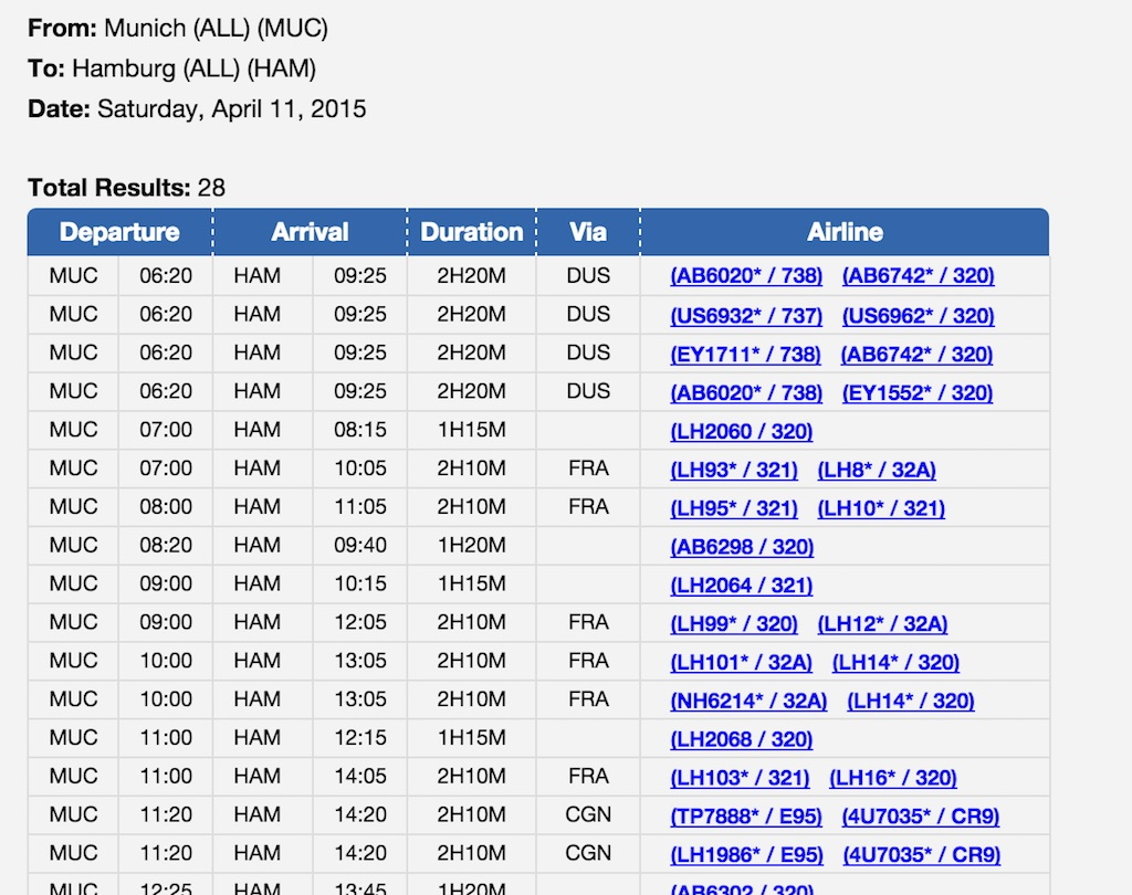Flight Schedule - Desktop Interface