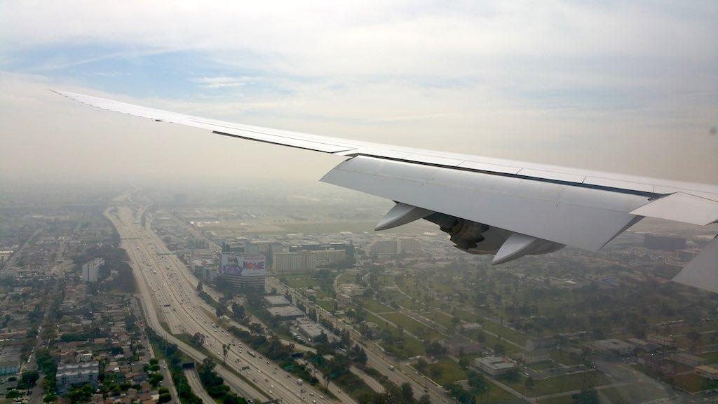 Lufthansa (LH) Boeing 747-8i Left Wing Los Angeles, CA (LAX)
