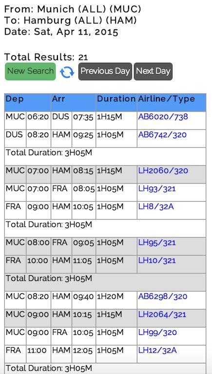 Flight Schedule: Mobile Interface