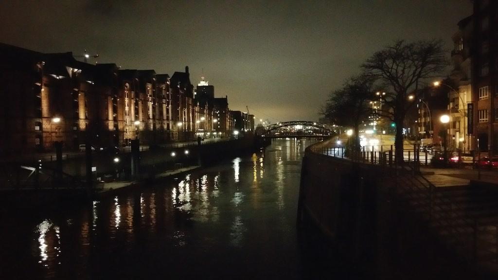 Speicherstadt at night in Hamburg, Germany