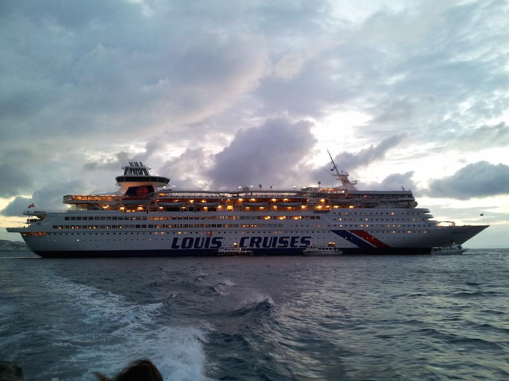 Celestyal Cruises Louis Olympia Docked in Mykonons Harbour