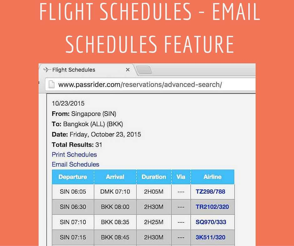 Flight Schedules Email Schedules