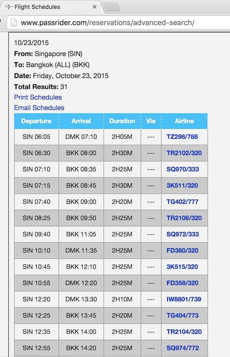 Passrider Flight Schedules Email Schedules