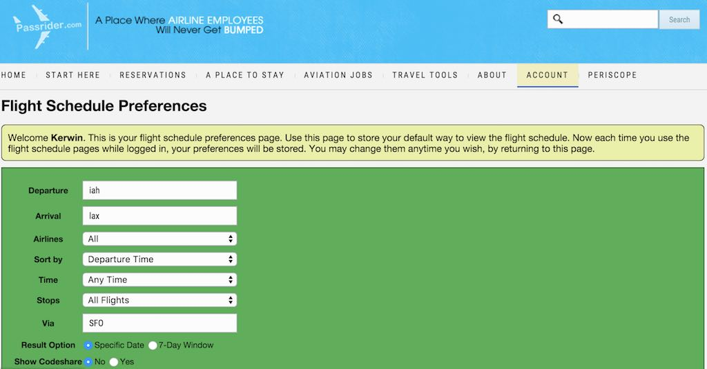 Passrider Flight Schedule Preferences