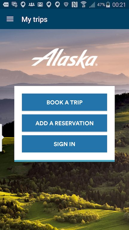 Alaska Airlines (AS) App: Standby list Home Page