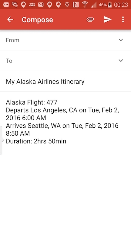 Alaska Airlines (AS) App: Standby list - Select Track A Flight - Email Itinerary