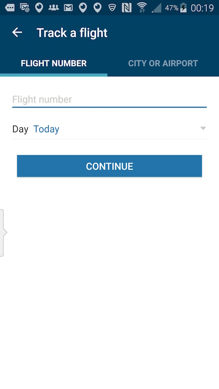 Alaska Airlines (AS) App: Standby list - Select Track A Flight - Enter Flight Number