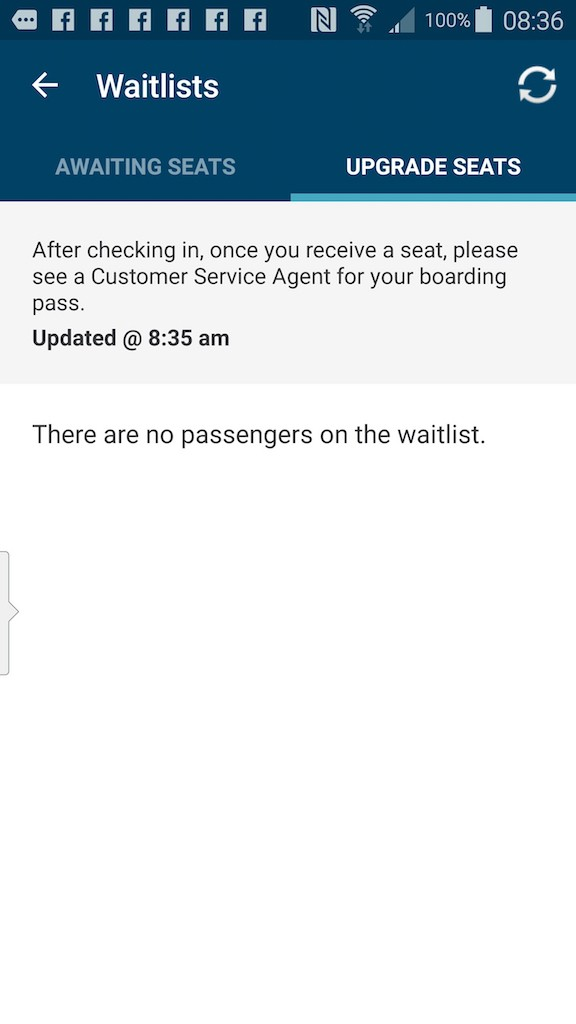 Alaska Airlines (AS) App: Standby list - Select Track A Flight - Flight Status No Passenger on the waitlist