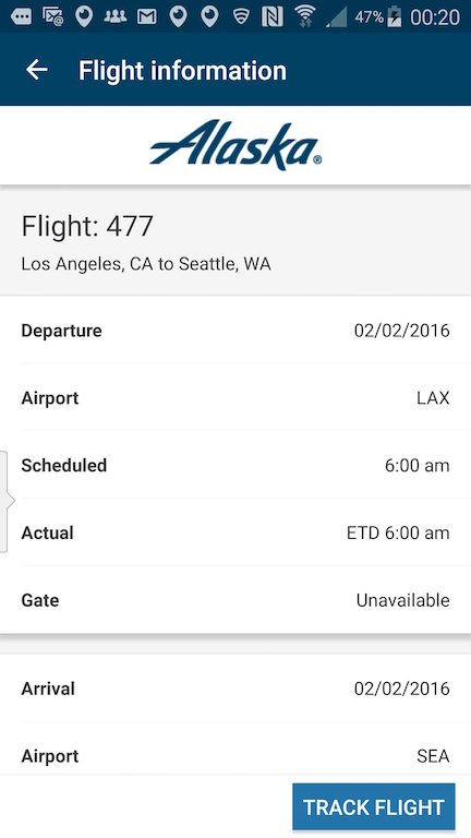 Alaska Airlines (AS) App: Standby list - Select Track A Flight - Flight Status Results