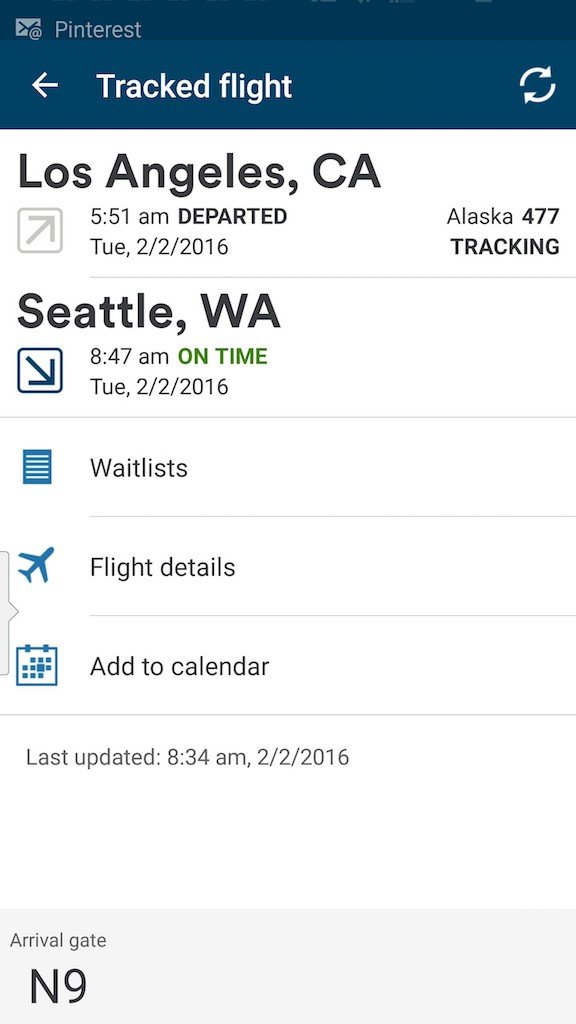 Alaska Airlines (AS) App: Standby list - Select Track A Flight - Flight Status Waitlist