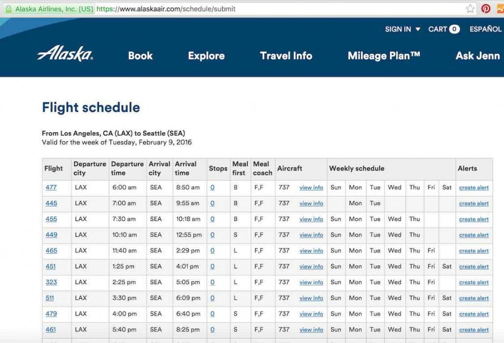Alaska Airlines (AS) Stand by list - Website - Flight Status Results List