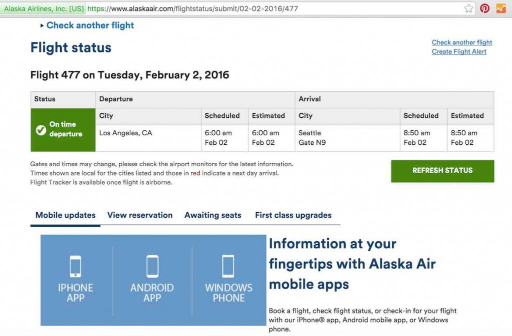 Alaska Airlines (AS) Stand by list - Website - Flight Status Results