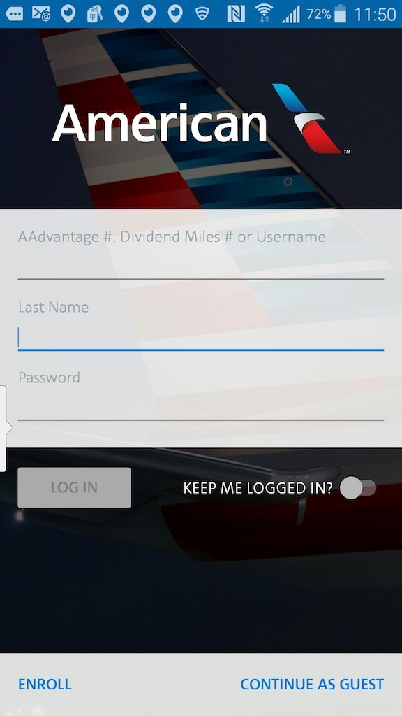 American Airlines - Flight Loads - Mobile App - AAdvantage Log in Screen