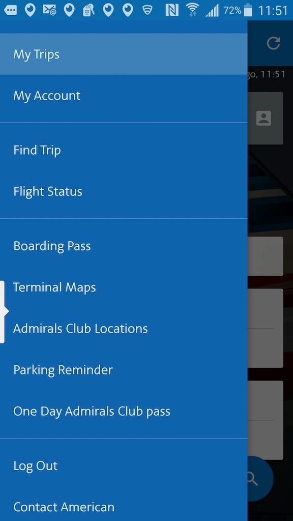 American Airlines - Flight Loads - Mobile App - Menu
