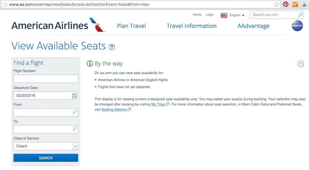 American Airlines - Flight Loads - View Available Seats