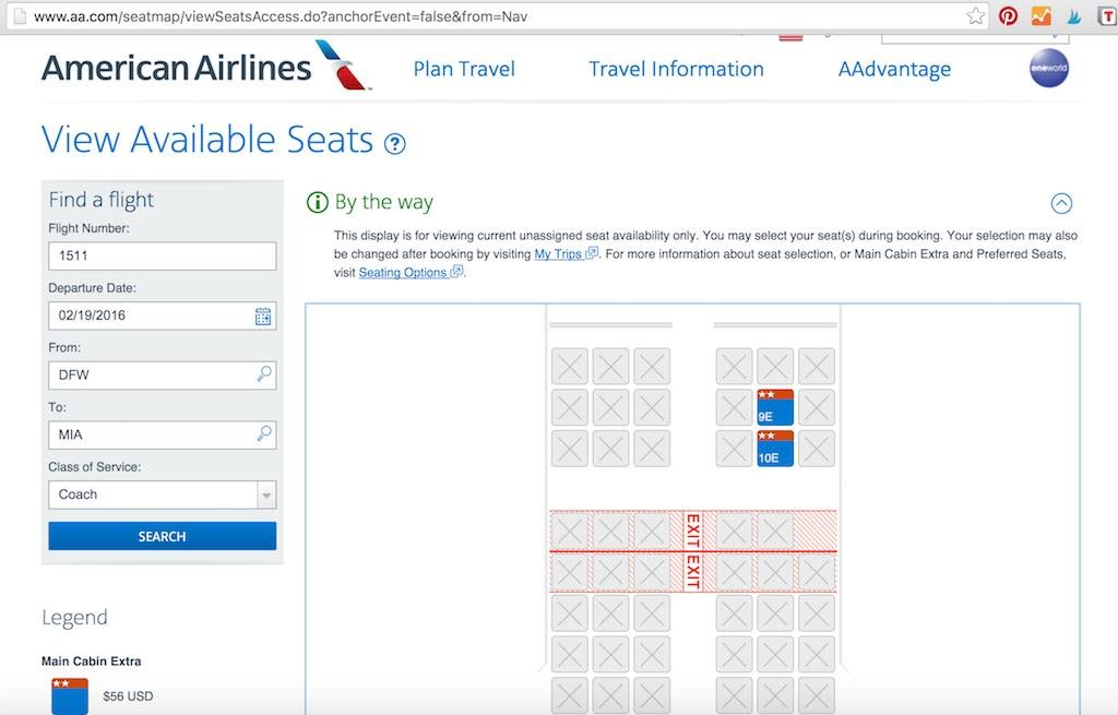 American Airlines - Flight Loads - View Available Seats - Coach Results
