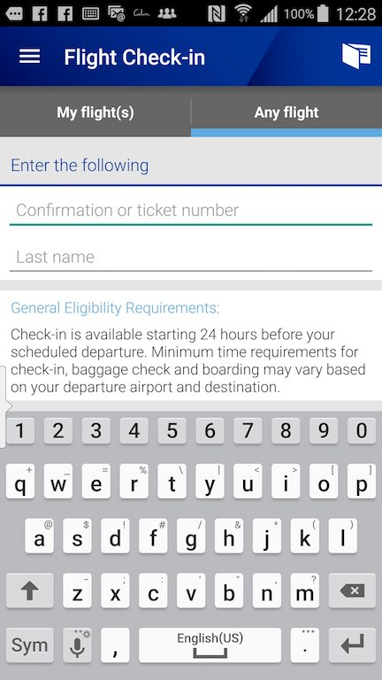 United Airlines (UA) Standby list - App- Check- in