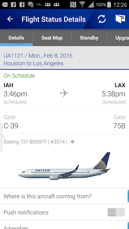 United Airlines (UA) Standby list - App - Flight Status Details