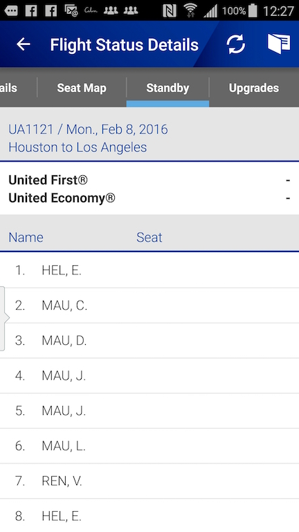 United Airlines (UA) Standby list - App - Flight Status Details -Stand by List