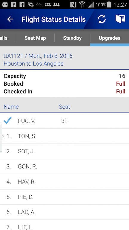 United Airlines (UA) Standby list - App - Flight Status Details - Upgrade Standby List