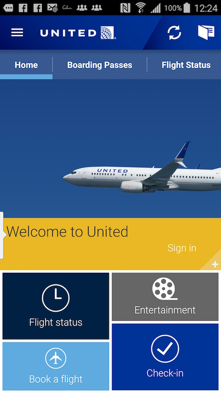 United Airlines (UA) Standby list - App - Homepage
