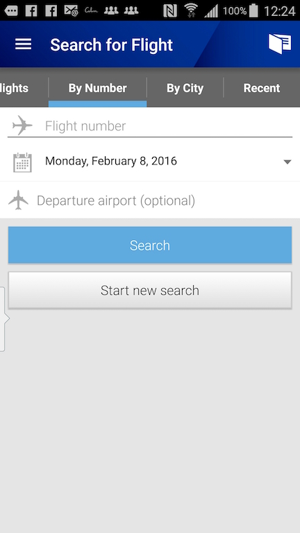 United Airlines (UA) Standby list - App - Search for Flight