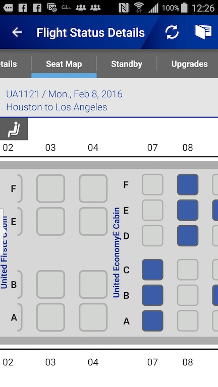 United Airlines (UA) Standby list - App - Flight Details - Seat Map