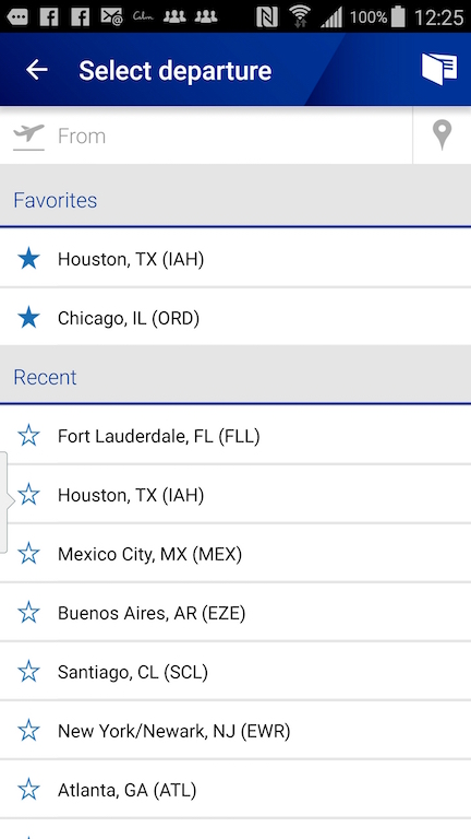 United Airlines (UA) Standby list - App - Select Departure