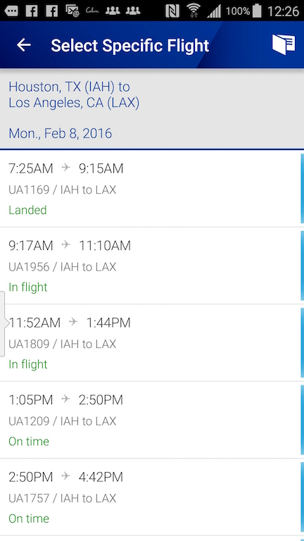 United Airlines (UA) Standby list - App - Select Specific Flight