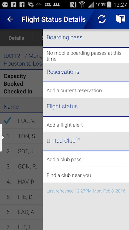 United Airlines (UA) Standby list - App - View Boarding Passes