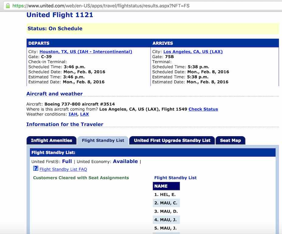 United Airlines Standby list - Website - Flight Standby List