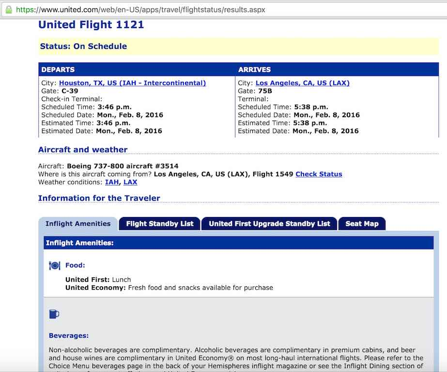 United Airlines Standby list - Website - Flight Status
