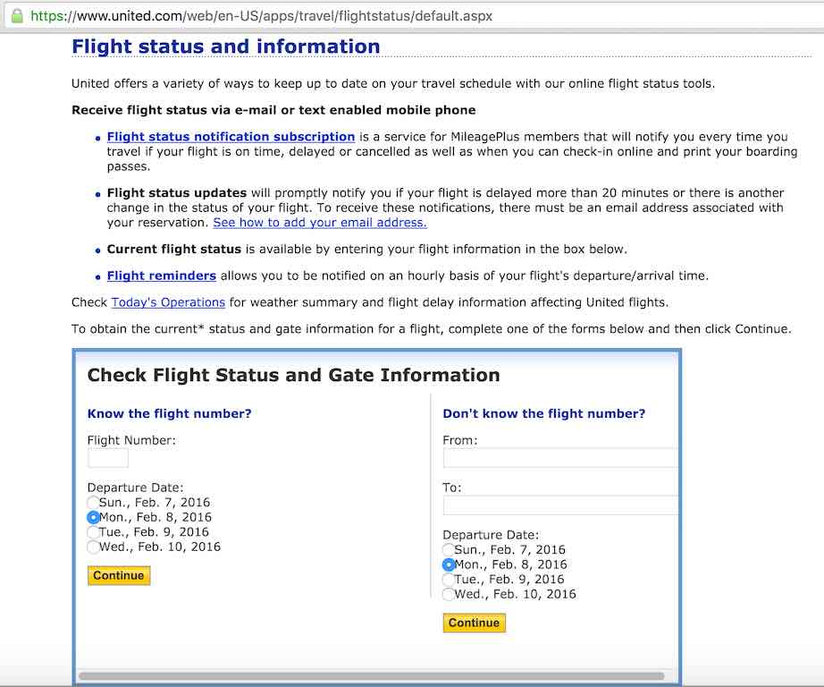 United Airlines Standby list - Website - Homepage