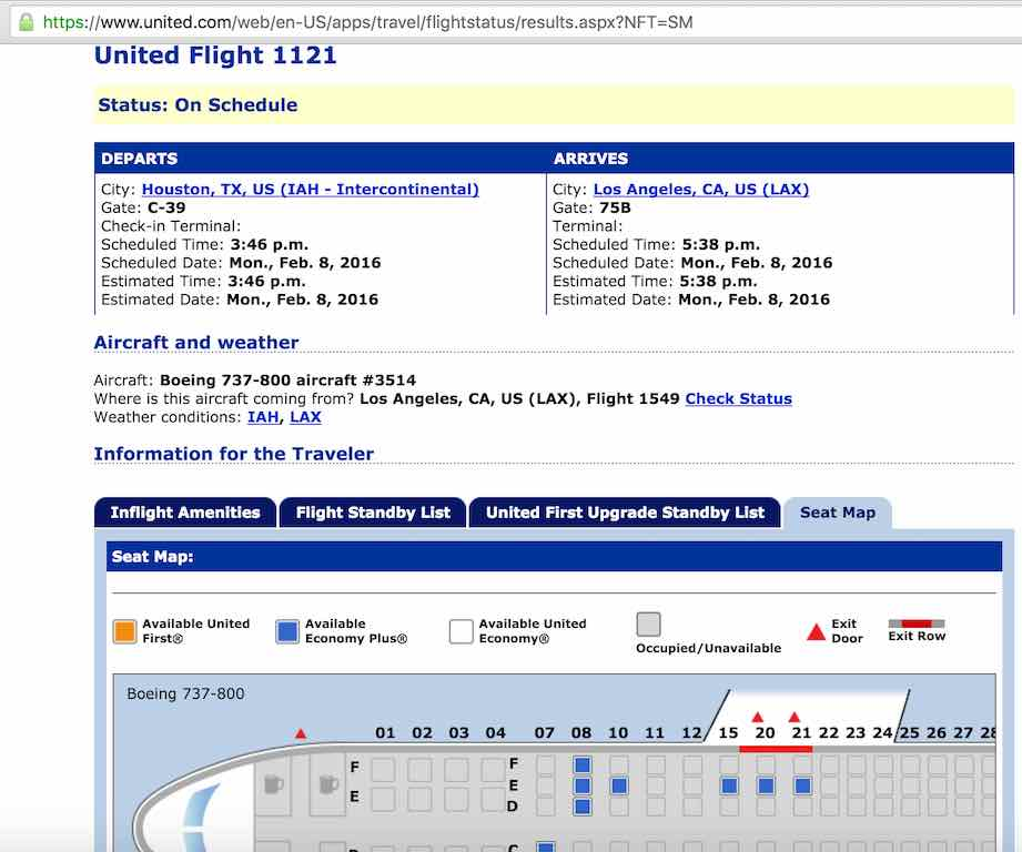United Airlines Standby list - Website - SeatMap