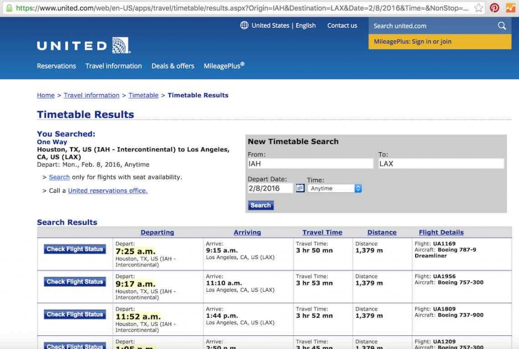 United Airlines Standby list - Website - TimeTable Results